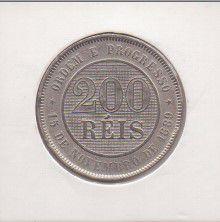 Moeda de Cupro Níquel do Brasil - 200 Réis -1889