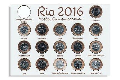 Série com 16 moedas olímpicas + 1 Placa de mdf