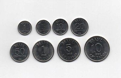 Série com 8 moedas de Cruzados - Aço Inoxidável