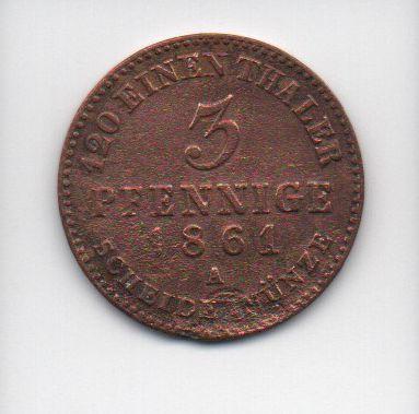 Moeda de 3 Pfennig de 1861 Alemanha(Prússia)