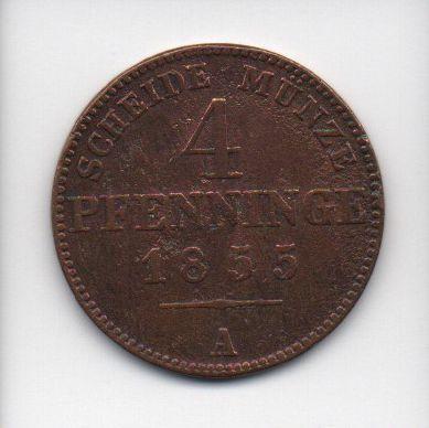Moedas de 4 Pfenninge -1855 Prússia (Alemanha)