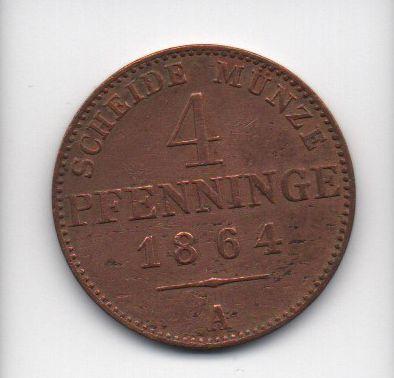 Moedas de 4 Pfenninge -1864 Prússia (Alemanha)