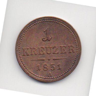 Moeda de 1 Kreuzer de 1851 - Áustria