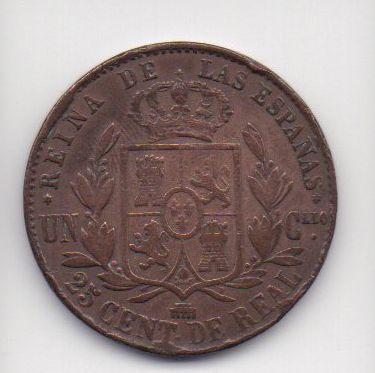 Moeda de 25 centimos de real de 1860 - Espanha