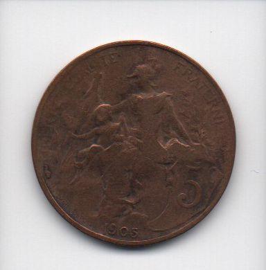 Moeda de 5 centimes 1905 - França