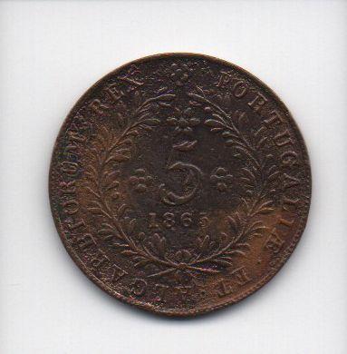 Moeda de 5 Reis de 1865 - Açores (Portugal)