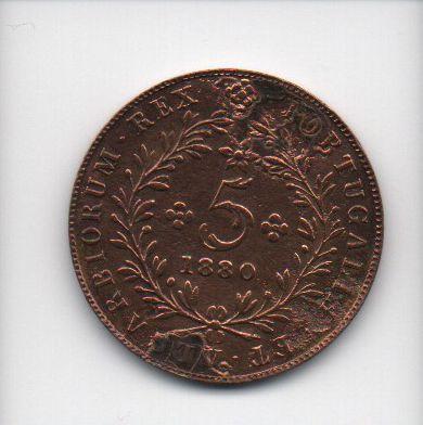 Moeda de 5 Reis de 1880 - Açores (Portugal)(2)