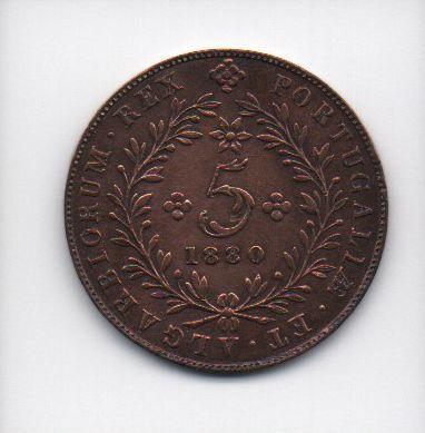 Moeda de 5 Reis de 1880 - Açores (Portugal)(3)