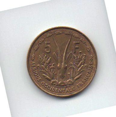 moeda de 5 francos de 1956 da África Ocidental Francesa