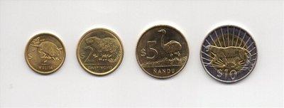 Set de moedas de 1-2-5-10 pesos do Uruguai