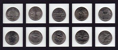 Inicio de coleção 10 moedas dos EUA Quarter dollar 10 estados diferentes