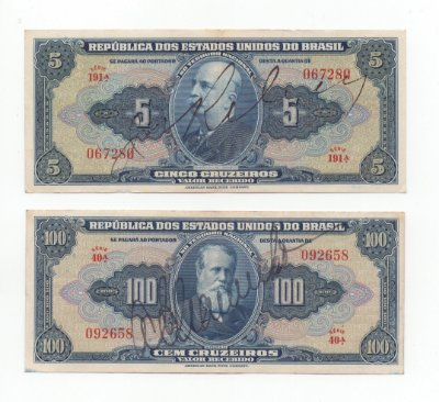 Lote com 2 Cédulas de Cruzeiro(5 e 100 Cr$) Autografadas da 1ª Estampa - Brasil