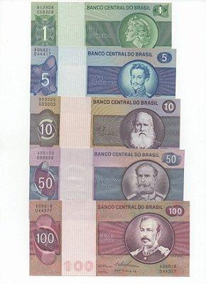 Série de Cédulas 1, 5, 10, 50 e 100 Cruzeiros do Brasil