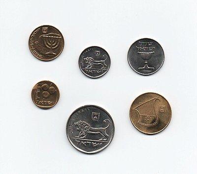 Lote com 6 moedas de Israel