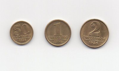 Série de moedas de bronze alumínio de 0,50 ,1 e 2 cruzeiros modulo menor Brasil