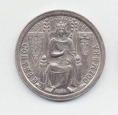Moeda de 25 escudos de Portugal - Cortes de Coimbra - 600 Anos da Batalha de Aljubarrota