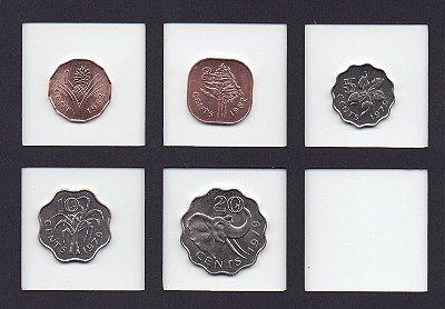 set com 5 moedas da Swazilandia