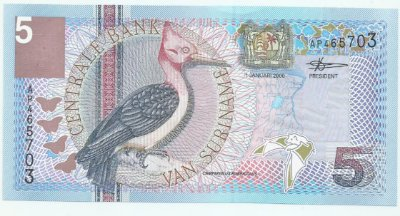Cédula do Suriname 5 Gulden