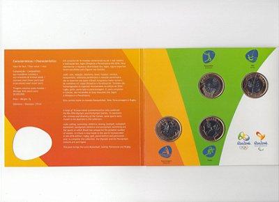 Blister Oficial com 4 moedas olímpicas de 1 Real - 2015