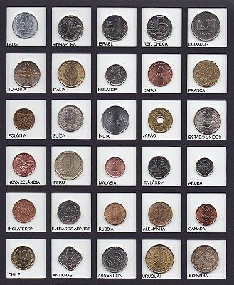 Lote com 30 lindas moedas de diferentes países