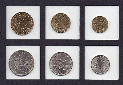 set de moedas da França antes do Euro