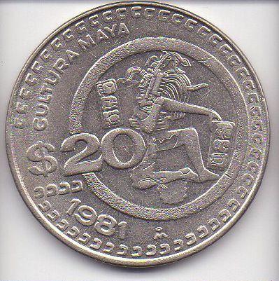 Moeda de 20 Pesos de 1981 - México
