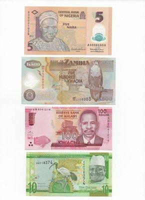 Lote com 4 Cédulas Estrangeiras - África 1
