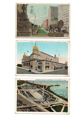 Cartões Postais Americanos com selos da década de 20