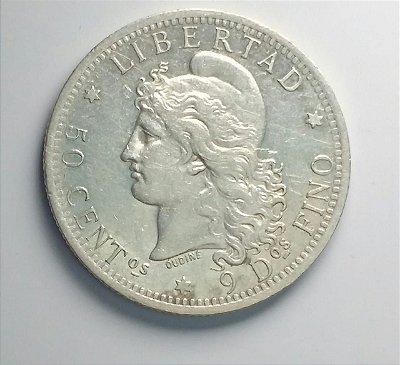 Moeda de Prata da Argentina 50 centavos - 1883
