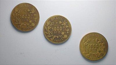 3 Moedas de 1.000 Réis datas escassas 1929 - 1930 - 1931
