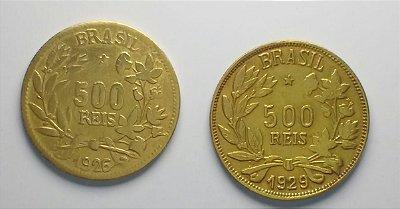 2 Moedas de 500 Réis FALSAS DA ÉPOCA  - 1926 e 1929
