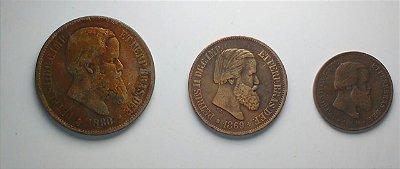 Série com 3 Moedas de Bronze - 10, 20 e 40 Réis