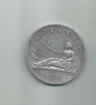 ESPANHA MOEDA DE 5 PESSETAS EM PRATA ANO 1870
