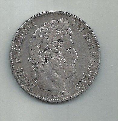 MOEDA FRANCESA DE  5 FRANCOS EM PRATA ANO 1855