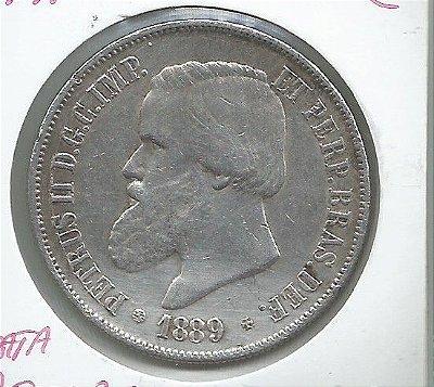 ESCASSA MOEDA DE 2 MIL RÉIS ANO 1889 PRATA