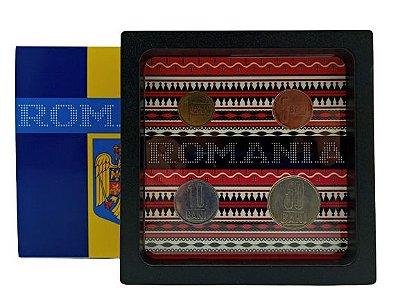 Display de Plástico Romênia com 4 moedas