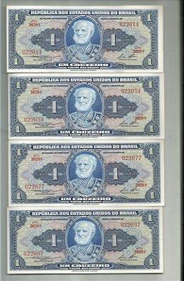 PACOTE COM UMA CENTENA DE CÉDULAS DE UM CRUZEIROS  DE 1954 SÉRIE DE 022014 A 22114 FE