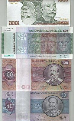 LINDO LOTE COM 4 CÉDULAS DO BRASIL 1a.FAMÍLIA SENDO 50 -100-500 E 1000 CRUZEIROS FLOR ESTAMPA