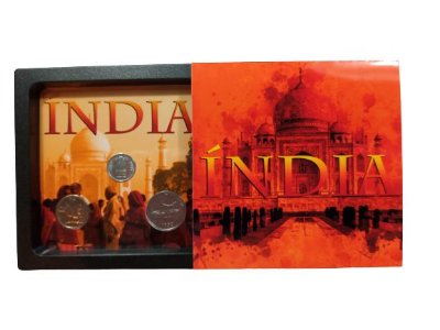 Display de Plástico Índia com 3 moedas