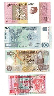 Lote com 4 Cédulas da África