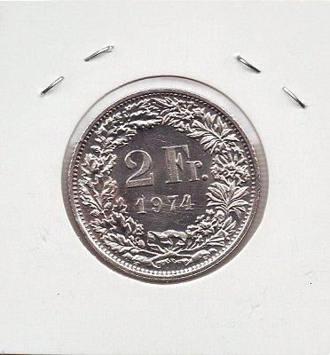 Moeda da Suiça 2 Francos - 1974