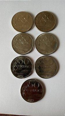 7 Moedas de 50 Centavos - 1967 - 1970 - 1975 - 1976 - 1977 - 1978 - 1979