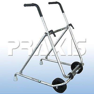 Andador em aço cromado dobrável com rodas LY-506
