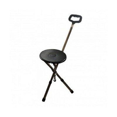 Bengala de alumínio com altura de regulagem  e assento bronze (hosp)
