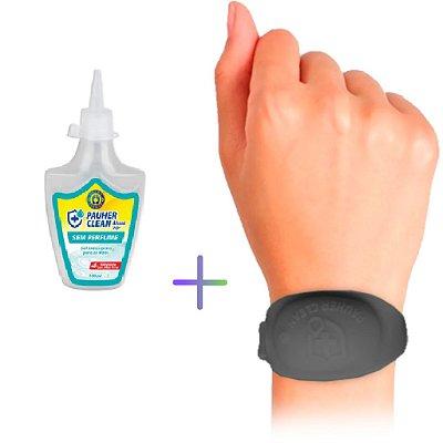 Kit pulseira de biossegurança em silicone  + álcool gel 70% antisséptico 100ml
