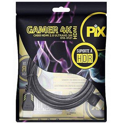 CABO HDMI 3M 2.0 4K GAMER - PLUG 90 GRAUS