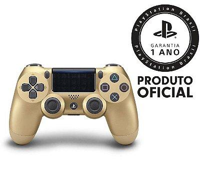 Controle Sony Dualshock 4 Dourado sem fio (Com led frontal) - PS4