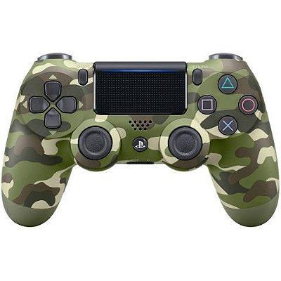 Controle Sony Dualshock Verde Camuflado sem fio (Com led frontal) - PS4
