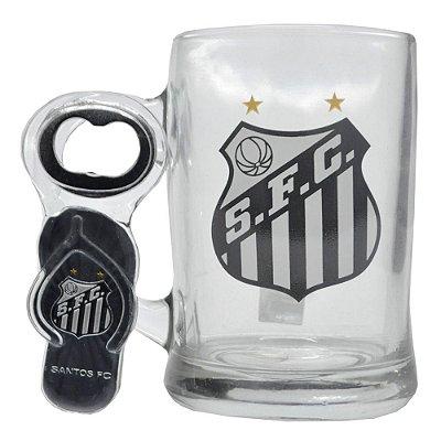 Caneca de Vidro 350ML C/Abridor Santos FC