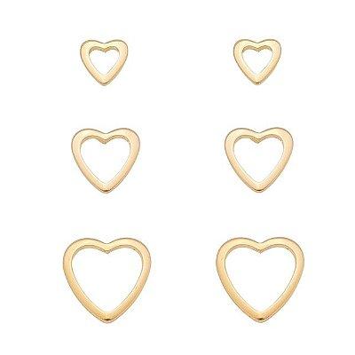 Trio brincos corações vazados Banhado a ouro 18k